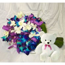 10 Blue Orchids Bunch+ Teddy