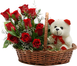 6 red roses and Teddy in same basket