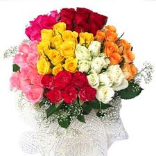 Multi Coloured Roses basket