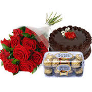 24 Red Roses Bunch+16 Ferrero rocher Chocolates +1/2 Kg Cake