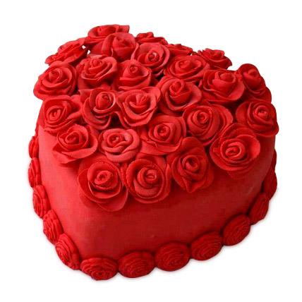 RED cake 1 Kg with icing of RED ROSES