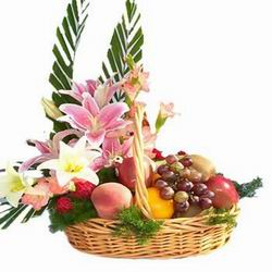 Flowers and Fruits in same basket