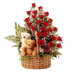 Red Roses  basket with Two Teddies